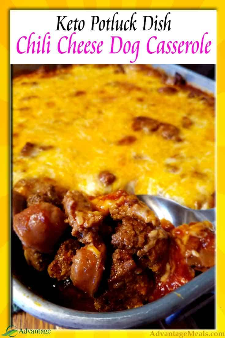This is a great Keto Potluck Recipe.  You and everyone at your summer gatherings are going to love this Chili Cheese Dog Keto Recipe.  People aren\'t even going to know this is \'diet\' food.    People will be shocked that this is the way you eat to lose weight.  Keto for the win!  #KetoDiet #KetoPotluck #Potluck #Potluckrecipe #KetoRecipe