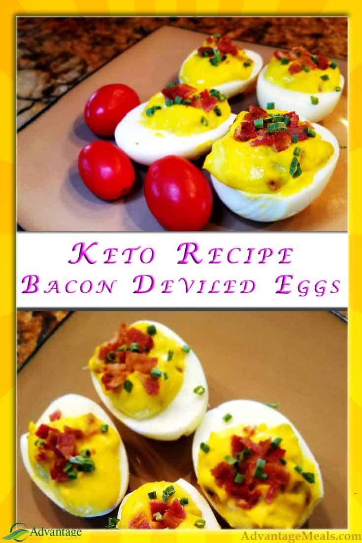 Keto Deviled eggs for your Thanksgiving, Christmas, or Summer Backyard Feast. Everything is better with Bacon, and your friends are going to love these!  Eggs are a low cost high value Ketogenic staple. So good that even your carb addicted friends will be asking for the recipe. Who knows, this might be the keto recipe that helps you help your friends.  #KetoDiet #KetoRecipe #DeviledEggs #Bacon #Ketogenics