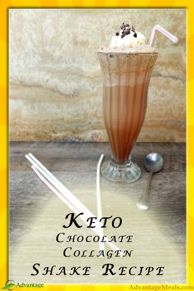 This Keto Shake recipe is a great Ketogenic Dessert in that it\'s tasty and packed full of joint healthy collagen.  What a great Keto Dessert Recipe.  #Keto #KetoDiet #KetoRecipe #KetoDessert #KetoShake @AdvantageMeals
