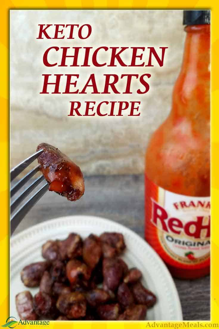 In both Keto & Primal diets we value organ meats, and this Easy Chicken Hearts Recipe helps us get them in our diets.  I love these as football game snack. #KetoDiet #KetoRecipe #ChickenRecipe #OrganRecipe @AdvantagMeals #Keto
