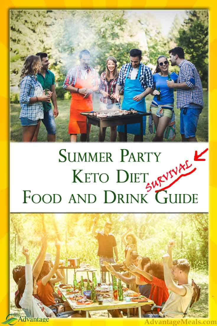 Keto Party Food & Drink is the secret to surviving Summer BBQs and Potlucks.  These are our favorite recipes, low-carb drinks, and snacks.  Keto-Party on!  #Keto #KetoDiet #KetoParty #KetoPotluck #KetoBBQ #KetoRecipes