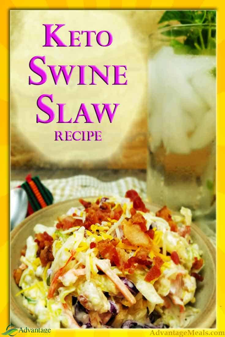 Keto Swine Slaw is no excuses keto goodness. Low Carb High Fat and packed with Pig, this ketogenic coleslaw recipe is a savory meal & you are going to love!  #Keto #KetoRecipe #ketoDiet #Bacon #Ham #LCHF #Ketolife