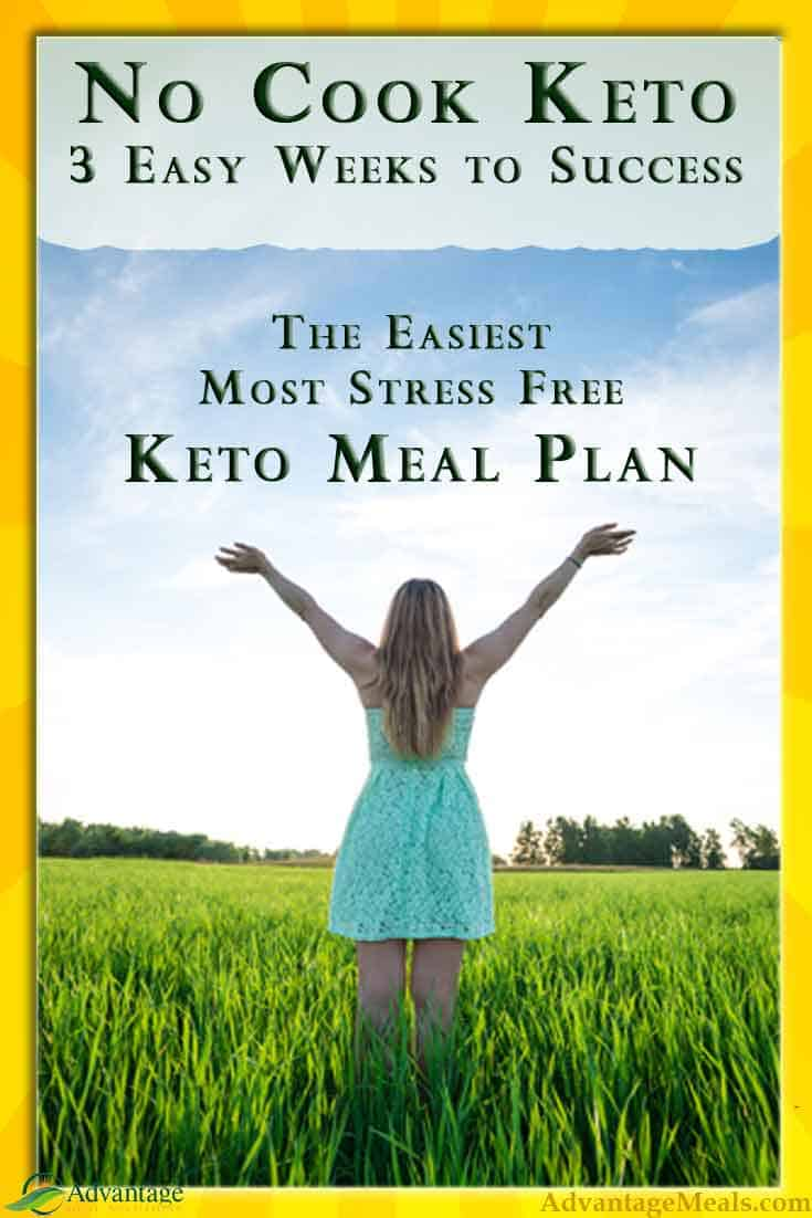 The No Cook Keto Meal Plan is the simplest Keto Meal Plan available and is optimized to get a keto beginner into Ketosis Fast.  This meal plan brings our 20 combined years of Low Carb High Fat coaching and meal preparation to you.  #KetoDiet #KetoMealPlan #AdvantagMeals #NoCookKeto