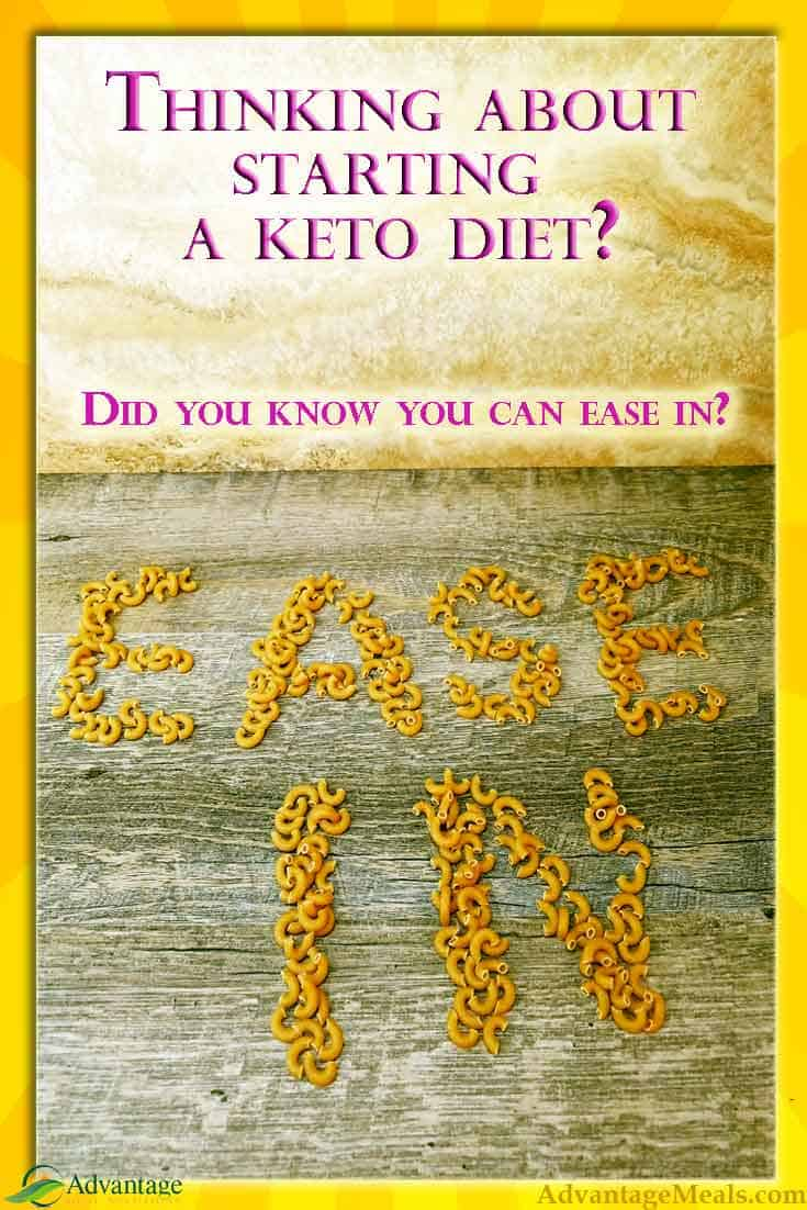 Cold turkey isn\'t for everyone.  You can ease into a keto diet, and here are the tips and tricks to make the ease in approach to ketogenic diets work for you.  #Keto #KetoDiet #Ketogenic #StartKeto #Easein