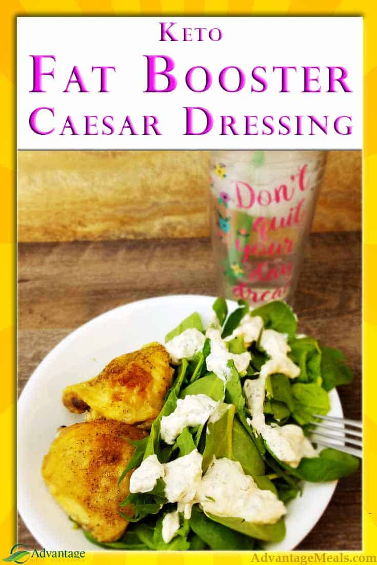 An easy and fast Keto Fat Booster Recipe for Caesar Salad Dressing or Dip.  This easy recipe adds so much flavor and the Fat you need to hit your Keto Macros. #KetoDiet KetoRecipe #FatBooster #KetoMacros #KetoFat