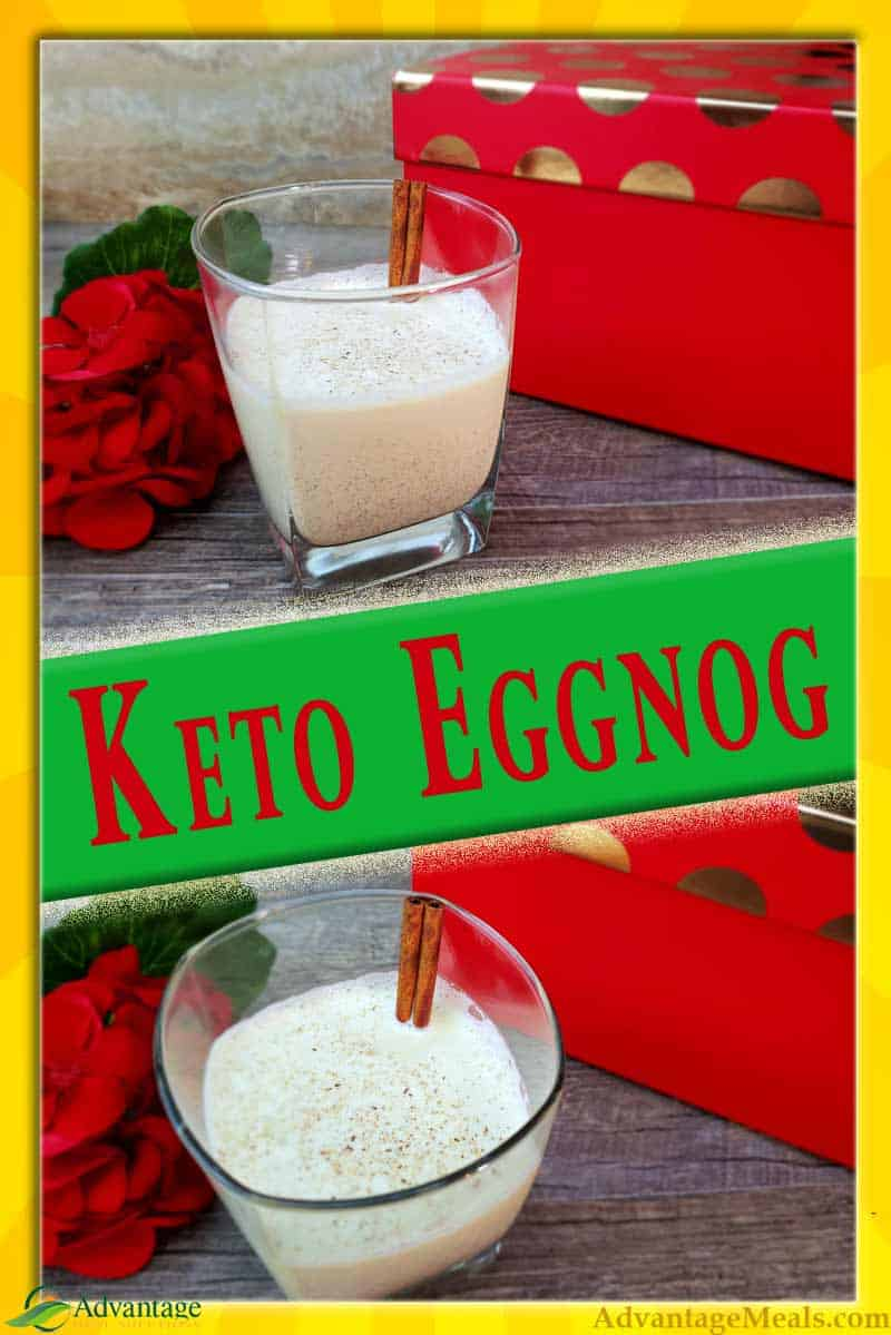 Keto Eggnog Recipe.  You\'re going to love this low carb eggnog recipe.  With both traditional and alcohol free eggnog options.  We've also included ancestral eggnog recipe and a more modern cooked eggnog option in this recipe.  Make your Keto Christmas more festive with this easy keto eggnog recipe.  #Keto #KetoRecipe
