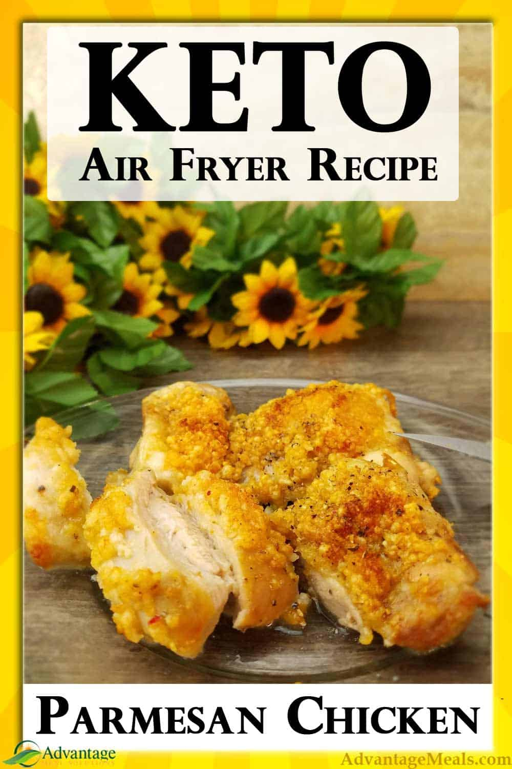 Super Easy Keto Air Fryer Recipe for Crispy Parmesan Chicken Thighs.  In full disclosure, we cook for a living, and I got an Air Fryer for my husband just his hot wings.  I had no idea we\'d use this thing so much.  This is my husband\'s super easy version of keto crispy chicken thighs.  He always takes recipes down to the minimum necessary to get the job done, and this one is a winner.  Let us know in the comments how it works for your family. - Angela #Keto #AirFryer