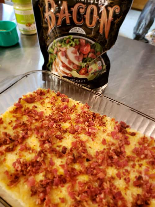Bacon on the crust in the low carb breakfast recipe.