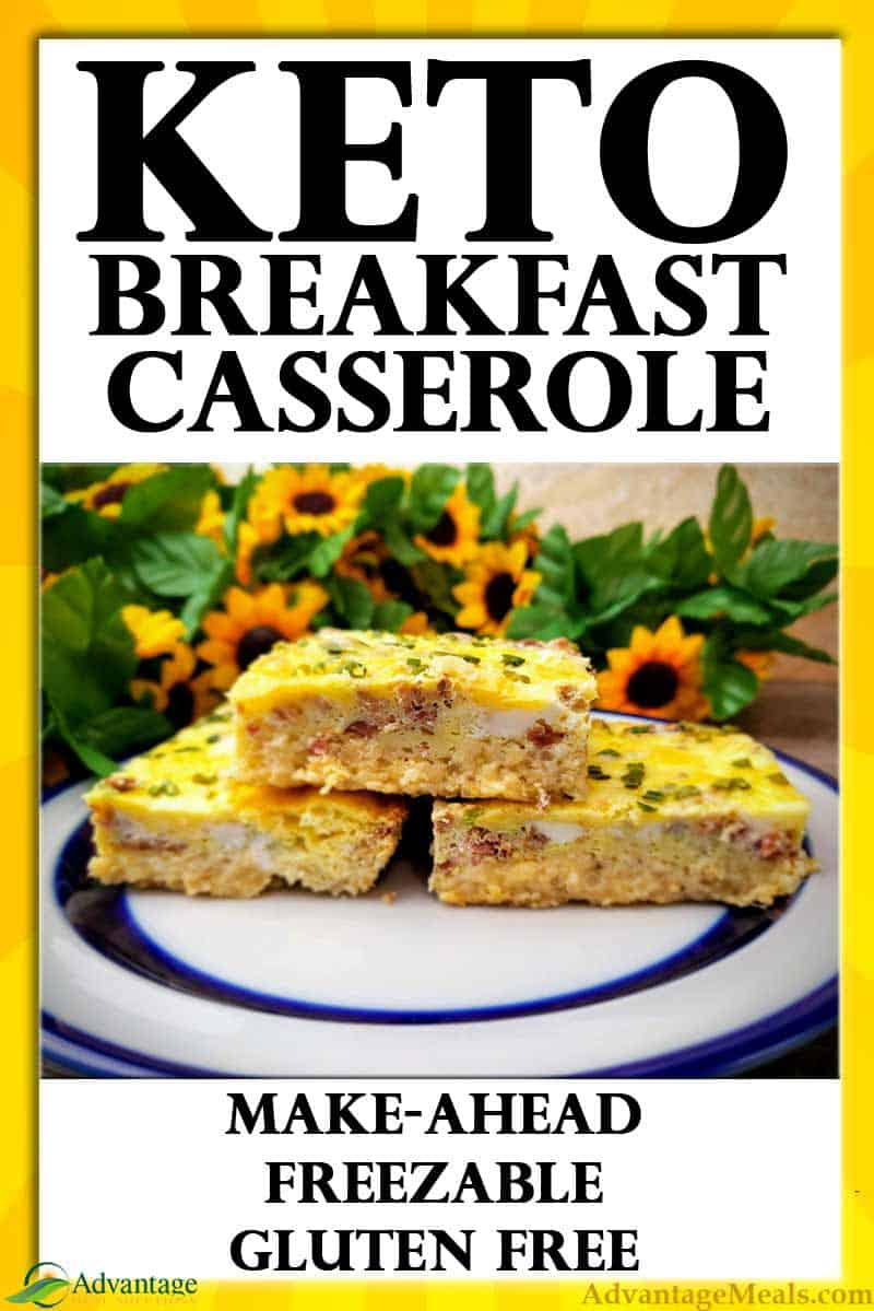 Easy Keto Breakfast Casserole Recipe.  If you are on the Keto Diet and looking for easy low carb breakfast ideas, this recipe is what your searching for.  Super easy, low carb, gluten free, sugar free.