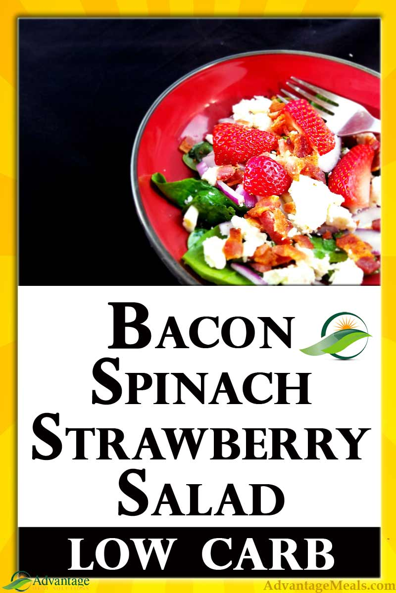 Bacon, Spinach and Strawberry Salad Recipe. Low-Carb | Sugar Free | Gluten Free | Keto Friendly | Darn Good.  Enjoy this salad for a weekday lunch, or as part of a keto menu. Includes a recipe for a keto bacon fat salad dressing.  Easy Low Carb Recipe.  Keto Salad Recipe.  #Keto #Mothersday