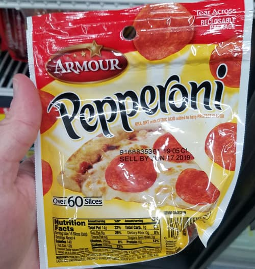 Pepperoni is near zero carb, so it's a great keto snack at Dollar General.