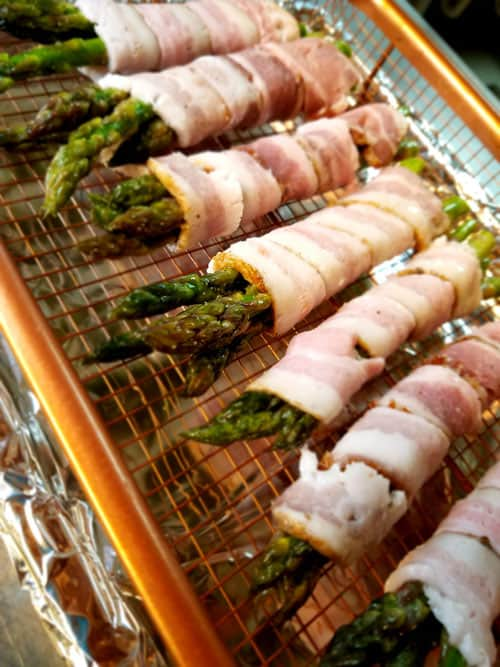Bacon Wrapped Asparagus ready to be baked.