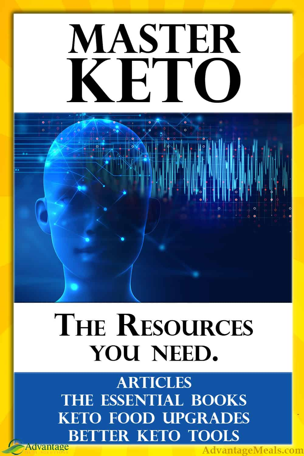 The Essential Resources to begin to Master the Keto Diet.  Keto Articles, The Essential Books, Better Keto Food, Better Keto Tools.  All collected in one easy to use keto resources list. #MasterKeto #AdvantageMeals