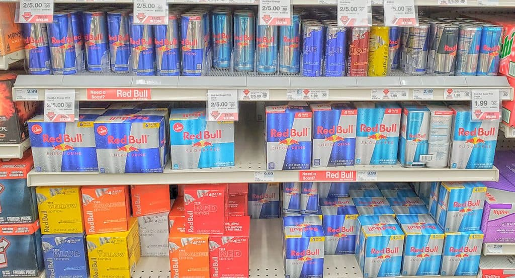 Images of Red Bull Cans on A Shelf