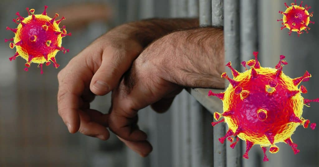 Image of Hands IN Jail with Virus Cells